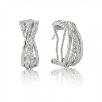 """SilverLuxe Women's Sterling Silver Cubic Zirconia """"Highway"""" Earring with Safety Clutch Back - C317WX5NXTW"""
