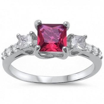 Princess Cut Simulated Ruby & Round Cubic Zirconia Fashion .925 Sterling Silver Ring Sizes 4-11 - C311OH4CZQJ