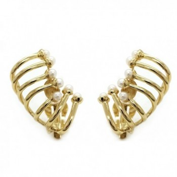 Ear Climber Clip On Earrings Cage Wrap Crawler Gold Plated Simulated Pearl - CS12BLD228T
