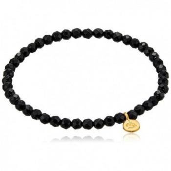 Satya Jewelry Black Onyx Mini Om Stretch Bracelet (4-Millimeter) - C7127JP33J5