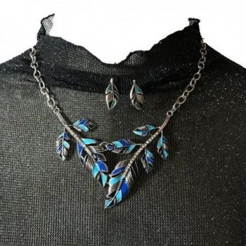 Peony T Crystal Necklace Earrings Leave Blue in Women's Jewelry Sets