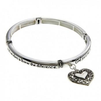 PammyJ Silvertone Detailed Heart Charm Serenity Prayer Stretch Bracelet - CY11O66O0GV
