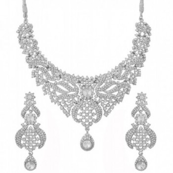 Touchstone Women's Antique Toned Mesmerizing Earring and Necklace Set - White - C212L5AXMGX