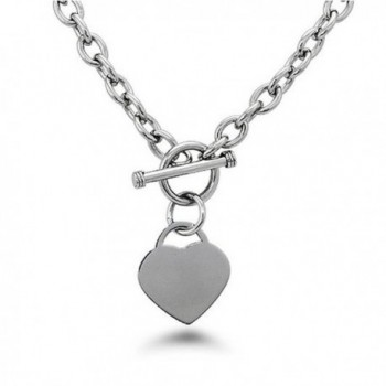 """Noureda High Polished Stainless Steel Heart Charm Cable Chain Necklace with Toggle Clasp (Length: 18"""") - CZ1181YGG8J"""