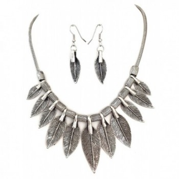 Tribal Look Multi Feather Leaves Silver Tone Statement Short Necklace Earrings Set - CC11YR857LZ
