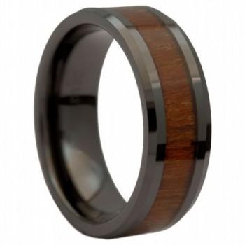 MJ 8mm Black Ceramic Wedding Band Natural Acacia Koa Wood Inlay Comfort Fit - CR11TITQ6A3
