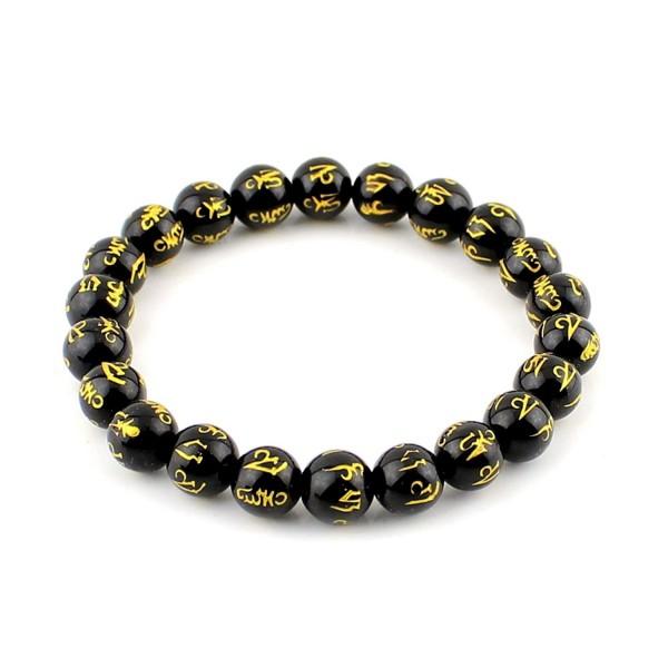 O-stone Black Agate Bracelet Carved Om Mani Padme Hung 8mm Meditation Mala Grounding Stone Protection - C911BYIBL75