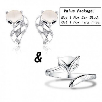 Value Package!Fashion Unique Fox 3D Pierced Ear Stud Earrings Hollow Design with Huge Crystal - CN185UZIYIH