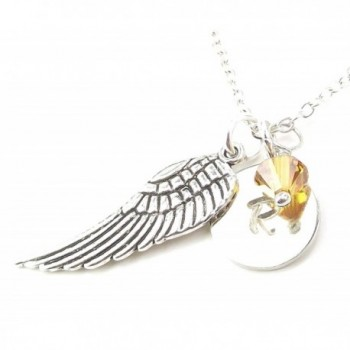 Personalized Angel Wing Necklace with Birth Month Crystal from Swarovski Custom Initial Charm - CE128XVIMSL