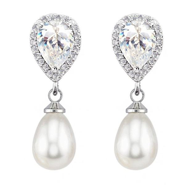 SELOVO Teardrop Cubic Zirconia Pierced Drop Earrings Luxury Jewelry Silver Tone - white - CJ12I52Y6XD
