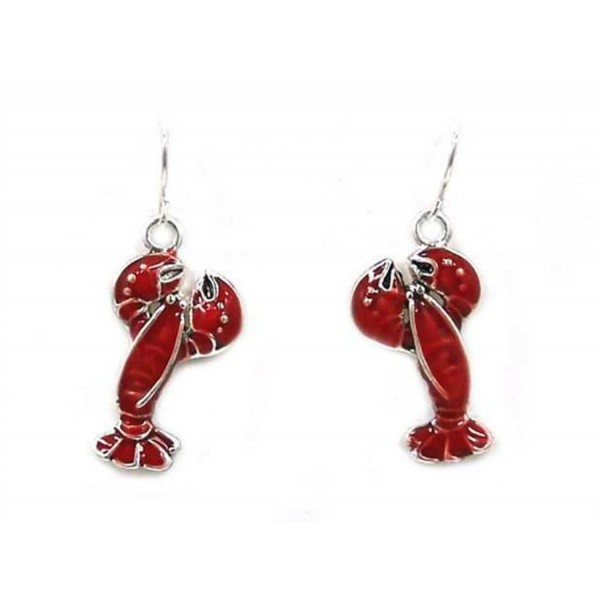 Beautiful Silvertone Lobster Fish Hook Style Earrings (with Gift Box) - CX11W2CX6TD