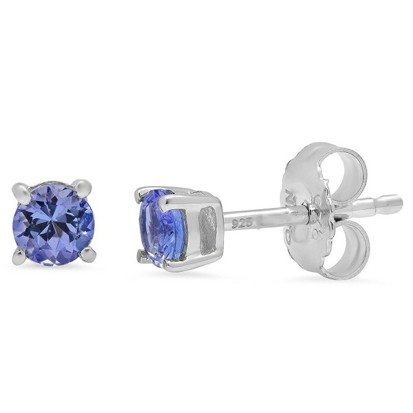 Round Tanzanite Stud Earrings Set in Sterling Silver 1/2ct tgw Real Genuine Tanzanite - CA115EXJT4D