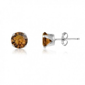 Round 6mm Coffee Brown CZ Stud Earrings (2.86 cttw) Sterling Silver- 14k Yellow or Rose Goldplate - CT11IWLBGXL