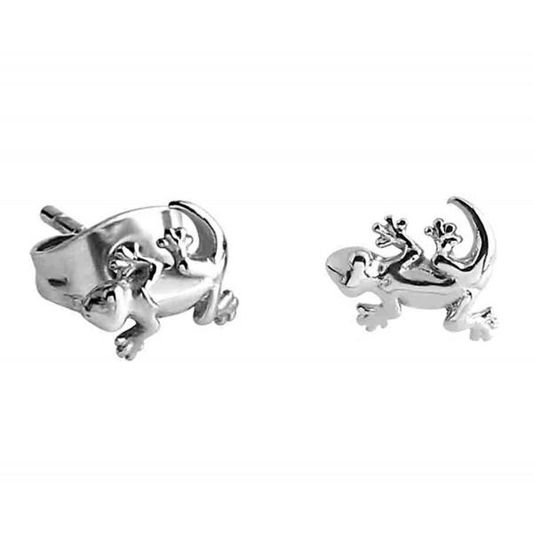 Tiny Stainless Steel Gecko Stud Earrings - CT17YCKLUS2