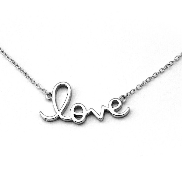 "Solid Sterling Silver Rhodium Plated ""Love"" Pendant Necklace- 18"" - CS11HBNAPQT"