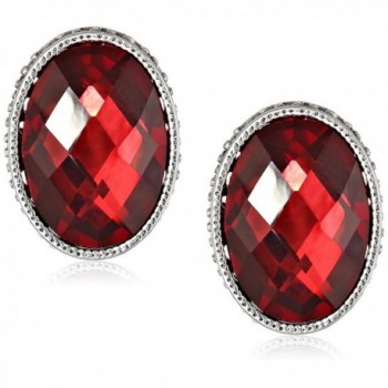 "1928 Jewelry ""1928 Red Jeweltones"" Silver-Tone Siam Red Faceted Oval Button Stud Earrings - C111FTA3AWL"
