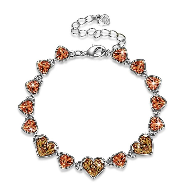 "Qianse ""Love in Iceland"" Ice Blue Heart Tennis Bracelet- Made with Swarovski Crystals - C1182WS0H0W"