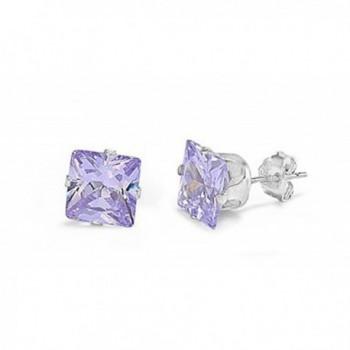 Sterling Silver Light Purple 7mm Square Cubic Zirconia CZ Stud Earrings - C8117WZJOEB