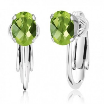 1.70 Ct Oval Checkerboard Green Peridot 925 Sterling Silver Clip-On Earrings - C811OQB7851