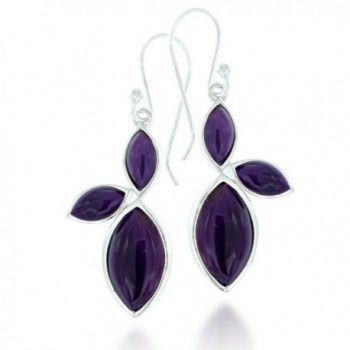 925 Oxidized Sterling Silver MarquiseTurquoise or Coral Gemstone Dangle Earrings - Purple - CR126ZLR9TT
