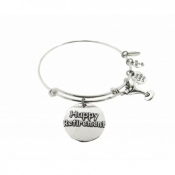 Happy Retirement Silver Tone Expandable Wire Bracelet - CT18342W535