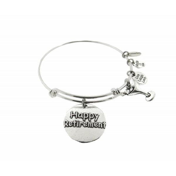 Happy Retirement Silver Tone Expandable Wire Bracelet - CT18342W535