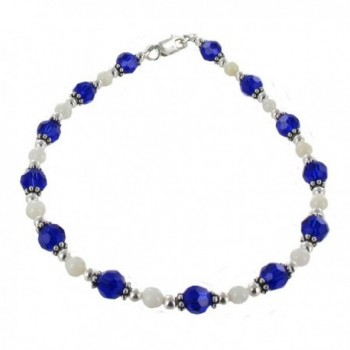 Womens Cobalt Blue Czech Fire Polished Glass- Mother of Pearl & Sterling Silver Anklet w/ Daisies - C511CPAJKE1