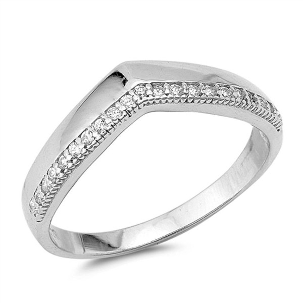 Chevron Pointed White CZ Thumb Ring New .925 Sterling Silver Band Sizes 5-9 - CY12JBXIUM3
