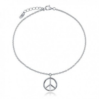 """BERRICLE Rhodium Plated Sterling Silver Peace Sign Fashion Charm Anklet 9""""+1"""" Extender - CW11WG3R6RL"""