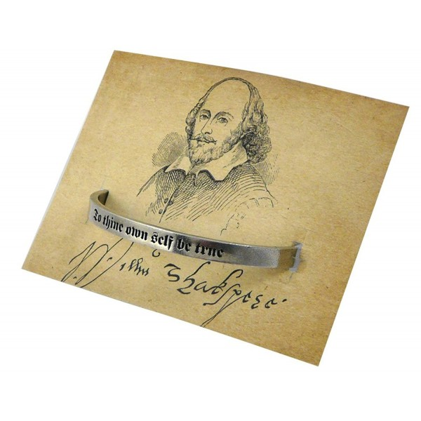 To Thine Own Self Be True Quote on Unisex Pewter Cuff Bracelet- American Made - CW127M6D5NP