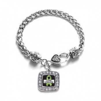 Lyme Disease Awareness Classic Silver Plated Square Crystal Charm Bracelet - CG11K6OBQW3