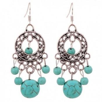 YAZILIND Green Round Beads Drop Dangle Earrings For Women Gift Idea vintage - CU11HD2XOD5