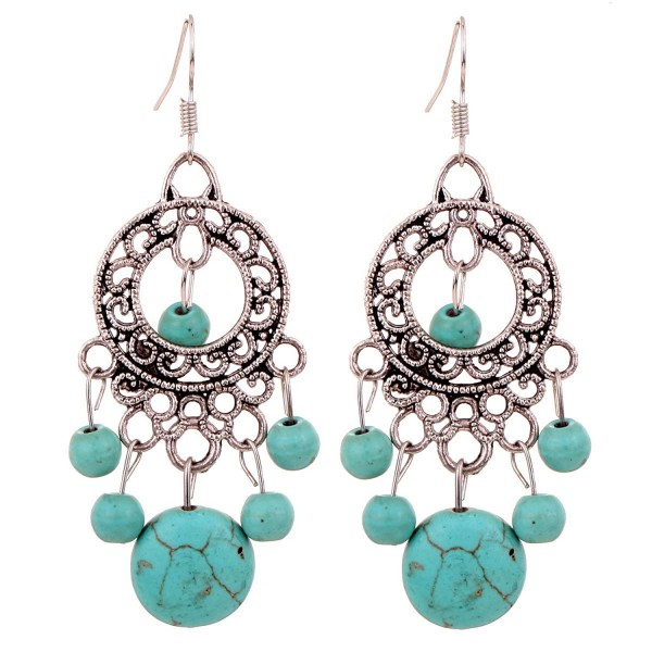 YAZILIND Green Round Beads Drop Dangle Earrings For Women Gift Idea vintage - CU11HD2XOD5