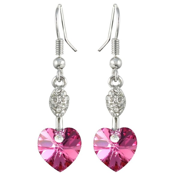 Sparkling Oval Dangle Heart Shaped Swarovski Elements Crystal Rhodium Plated Drop Earrings - Pink - CG118WEIV95