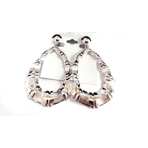 Clip-on Earrings Bamboo Earrings Silver Tone Teardrop Hoop Earrings - CH127DCV1BL