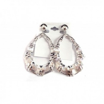 Clip Earrings Bamboo Silver Teardrop