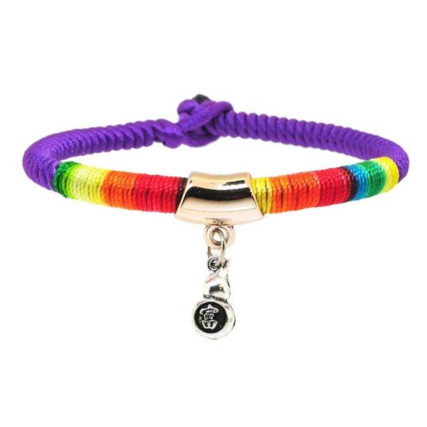 Braided Rainbow Kabbalah Red String Bracelet of Protection for Good Luck Fortune Health Love - Purple - CS1869K0W6K