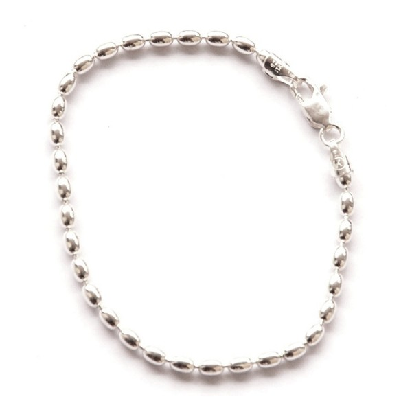 Shiny Sterling Silver 7-inch Oval Rice Bead Link Bracelet - Italian 4-mm Oval Beads w/ Lobster Claw Clasp - CH11NZO7X0Z