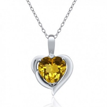 1.62 Ct Heart Shape Yellow Citrine and White Topaz 925 Sterling Silver Pendant Necklace with 18 Inch Silver Chain - CY128Z0H8LH