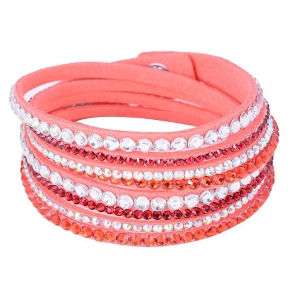 Eyourlife Fashion Leather Wrap Wristband Rhinestone Multilayer Bracelet Bangle Red - CK11PPRTJVV
