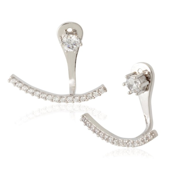 Front Back 2 in 1 Round Cubic Zirconia AAA Quality Stud and Ear Jacket Cuff Earrings by Lovey Lovey - CK12F429DAR