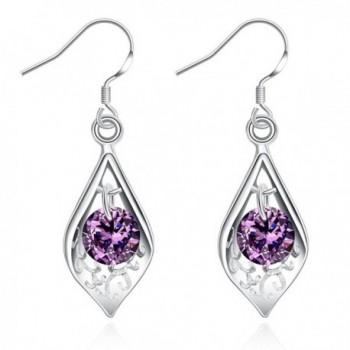 Amethyst Dangle Earrings Cubic Zirconia Drop Earrings For Women - CI183NUY5KY