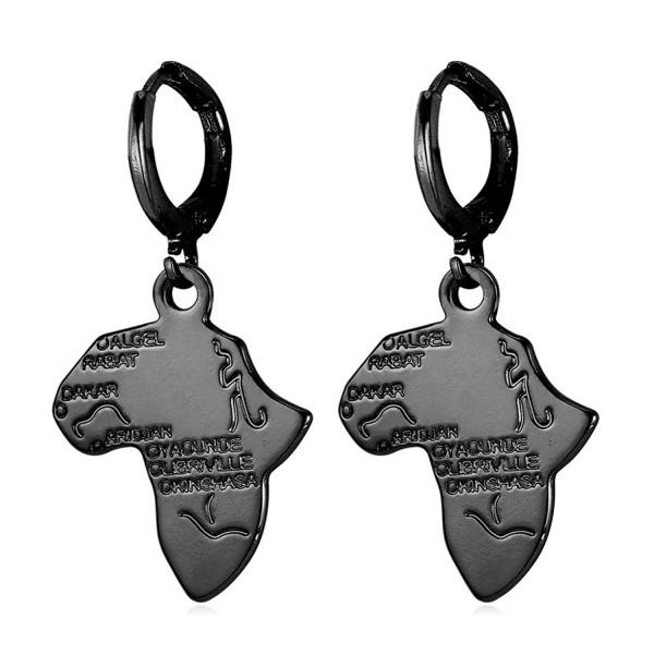 U7 Fashion Women 18K Gold/Platinum/Black Gun/Rose Gold Plated Africa Map Dangle Earrings - D.Black - C412LAK603F