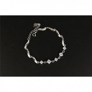 Womens Sterling Silver Zirconia Bracelet