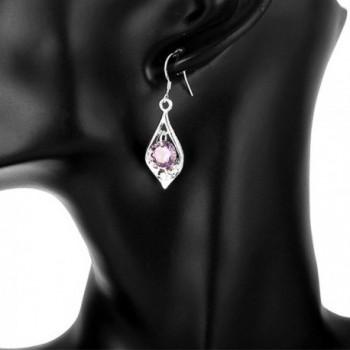 Amethyst Dangle Earrings Cubic Zirconia