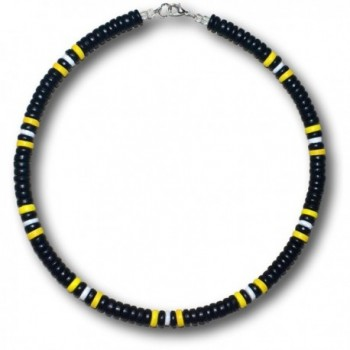 "Native Treasure - 18"" Steelers Black Yellow Coco White Shell Necklace with Lobster Clasp - 8mm (5/16"") - CG1176TXUP7"