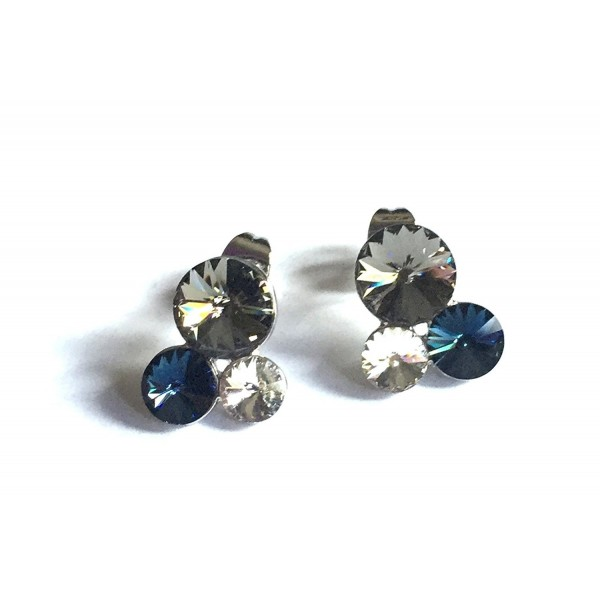 UPSERA Statement Earstuds Earrings- 3 round crystals - Made with Swarovski crystals- Rhodium plating - CS12CX72E0X