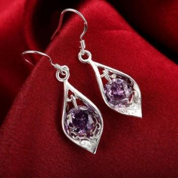 Amethyst Dangle Earrings Cubic Zirconia in Women's Drop & Dangle Earrings