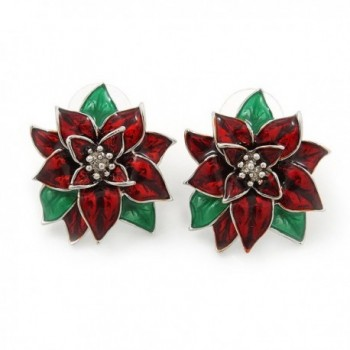 Christmas Dark Red/ Green Enamel Poinsettia Holiday Stud Earrings In Rhodium Plating - 25mm Diameter - CR11GU9R9PL