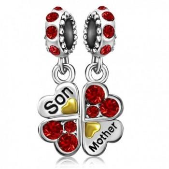 JMQJewelry Mom Heart Clover Charms Mother Son Jun-Dec Beads For Bracelets - C618206GAL3